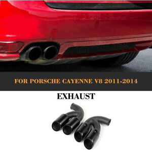 Für Porsche Cayenne V8 11-14 Endrohre Schwarz Edelstah Auspuffblende 2x Tailpipe
