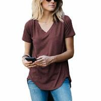 Amaryllis Apparel Women's V-Neck Loose Cut Casual Short Sleeve Knit Tee T-Shirt