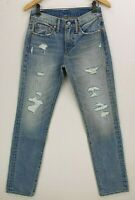 Levis Light Blue Stonewashed Distressed 505 Zip Tapered Jeans W28 L33 £100 New