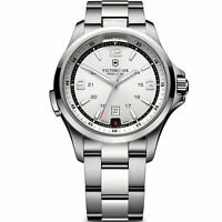 $695 VICTORINOX Swiss Army Mens Silver NIGHT VISION Stainless Steel Watch 241571
