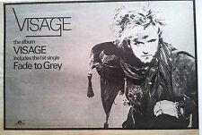 Steve Strange (VISAGE) Fade to Grey (Steve on the run) Press ADVERT 12x8 inches