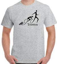Triathlon Curly Mens T-Shirt Cycling Running Swimming Ironman Sport Bike Kit