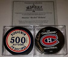 Vintage 1955 Maurice Richard HOF Goal Puck Montreal Canadiens NHL signed LOT COA