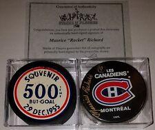 Vintage 1955 Maurice Richard HOF Goal Puck Montreal Canadiens NHL signed LOT COA