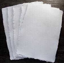 Echt handgeschöpft Büttenpapier, Briefpapier, naturweiß, 5 Blatt A4, 150g/m²