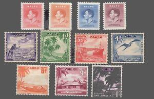 Nauru #35-38 & 39-45  MLH    Coronation KG VI  1937 / 1954  F/VF
