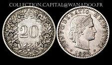 20 Rappen 1884 B Suisse. Billon. Cote SUP: 45€