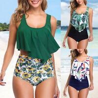 Damen High Waist Bikini Set Blumen Rüsche Bademode Push Gepolstert Badeanzug P/D