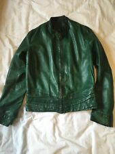 100% REAL LEATHER JACKET UK 8 10 S Italian Soft Emerald Green Zip Biker Fitted