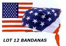 LOT 12 BANDANA 100% COTON USA COUNTRY FOULARD DRAPEAU ETATS UNIS AMERICAIN BIKER