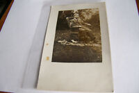 Rare Antique Vintage RPPC Real Photo Postcard Man In Chair On Animal Fur Outside