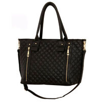 Womens Ladies Quilted Style Pu Faux Leather Handbag Hand Bag Cross Body Black UK