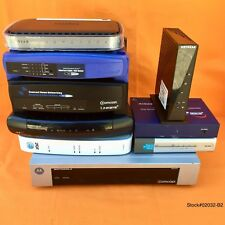 LOT OF 9 MIX CABLE BOX / ROUTER LINKSYS, NETGEAR, MOTOROLA, COMCAST *FOR PARTS*