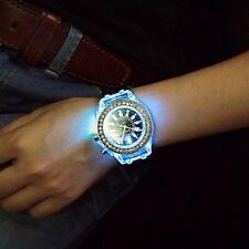 Mujer Reloj de Moda Cuarzo LED Silicona Banda Destello Blanco Luz