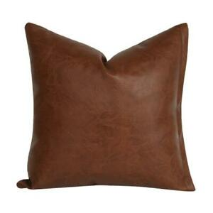 Modern Brown Faux Leather Throw Pillow Case Solid Color Decorative Cushion Cover
