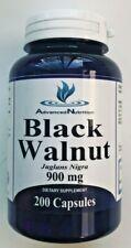 Black Walnut Hulls 900 mg Parasite Bacteria Herbal Cleanse 200 Caps Gluten Free