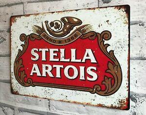 STELLA ARTOIS Lager Beer Large Vintage Metal Sign Bar Pub Man Cave Garage Shed