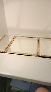 Vintage Decorated Tri Fold Dresser/Vanity Top /Hanging Mirror 1940's Style