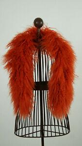Schal aus echtem Tibetlamm 90cm lang Farbe herbstliches Orange