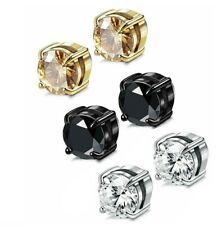 Men Women Stainless Steel Round CZ Magnetic Stud Earrings Non-Piercing Clip On