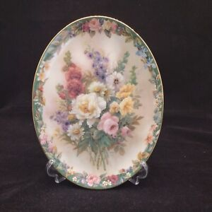 Remembrance Lena Liu Porcelain Plate Floral Cameos First Edition Signed