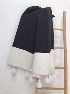 "Moroccan Handmade Cotton Pom Pom Throw Blanket IVORY/Black 118"" X 78"""