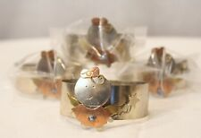 UNIQUE CRAFT COPPER & TIN GIRL ANGEL SET OF 4  NAPKIN RINGS NEW IN PACKAGE