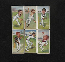 """s3299)    6 x JOHN PLAYER CIGARETTE CARDS """"CRICKET CARICATURES BY RIP"""" FROM 1926"""