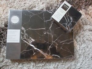 Set 6 Place Mats and Matching Coasters IMPRESS BLACK MARBLE Home Dining BNIB