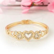 New Fashion Rhinestone Love Heart Gold Plated Bangle Bracelet Women Jewelry Gift