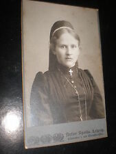 Cdv old photograph nun by Apollo Leipzig Germany c1900s