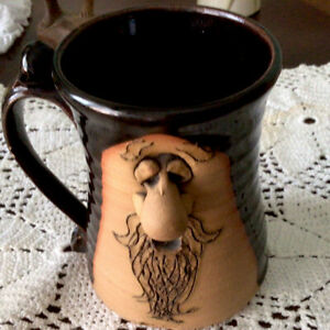 Vintage Face Mug Art Pottery 3D Coffee Cup Funny Ugly Handmade Stoneware Signed