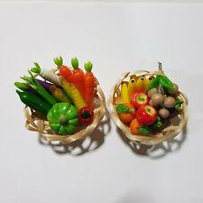 Miniature Vegetable-Fruit Basket Collectible Miniatures Handmade Clay Gift Babie