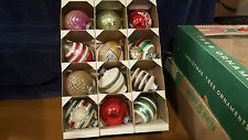 Vintage Box of 12 Shiny Brite U.S.A.Glass Christmas Ornaments UFO, Bells, Indent