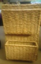 Seagrass? Woven Hanging Wall Mounted 2 Basket Mail Sorter Magazine Rack, Large