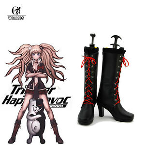Danganronpa Junko Enoshima Cosplay Shoes Black Boots High Heel Shoes