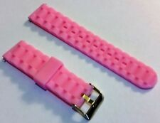 Pink farbenes Band 22mm Silikon Uhren Armband inklusive 2 passender Federste Neu