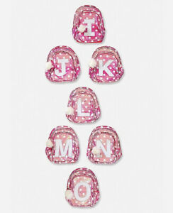 Justice Initial I Flip Sequin Pink & White Polka Dot Backpack New with Tags