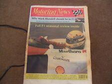 Motoring News 18 December 1991 Mark Blundell F1 GP Review Frank Bradley