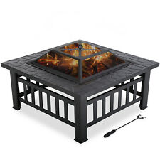 """Outdoor fire pit for wood 32"""" Metal firepit with Charcoal Rack,Poker& Mesh Cover"""