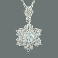 Riva Wedding Zirconia 18K White Gold Gp Topaz Pendant Necklace Free Chain