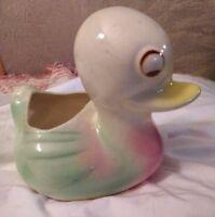Vintage Shawnee Pastels Blue Duck Baby Duckling Planter 1940 -1950s Baby Planter