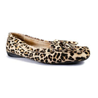 Sperry Top Sider Womens Sz 9.5 M Leather Leopard Cowhide Hair Fur Boat Shoe Flat