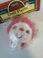 "Vintage DARICE Doll Head with Hands Red Yarn Hair 3"" New"