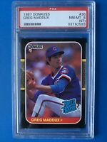 Greg Maddux 1987 PSA NM-MT 8 Donruss Rated ROOKIE BASEBALL CARD #36 Chicago Cubs