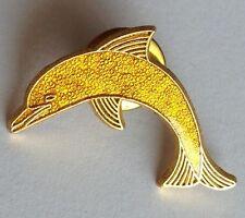 Golden Yellow Dolphin Pin Badge Rare Collectable (E1)