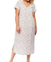 Ladies EVANS Pure Cotton Floral Short Sleeve Long Nightdress Nightie 18- 32 NEW