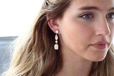 KATE SPADE NY LINEAR Drop Earrings Opening Night Gold Crystal Rhinestone Cream