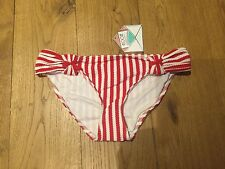 DEBENHAMS FLOOZIE BY FROST FRENCH Red Stripe Textured BIKINI BOTTOMS UK 8 BNWT