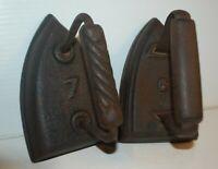 2 Vintage Antique Cast Iron Sad Flat Iron Clothes Press 7# and 6# Rustic